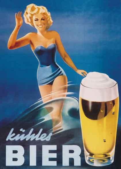 Originale Der Zeit Plakat  Frisches Bier
